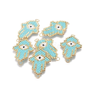 28mm Turquoise Palm Glass Links