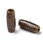 Tibetan Style dZi Beads, Natural Agate Beads, Dyed & Heated, Oval, 18-Eye, 28.5~32x10~12.5mm, Hole: 1.5~3mm