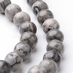 """Chapelets de perles de carte pierre/en picasso pierre/en picasso jasper ronde naturel, 6mm, trou: 1mm; environ 63~65 pcs/chapelet, 15""""(G-J346-03-6mm)"""