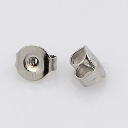 304 écrous en acier inoxydable, boucles d'oreille, couleur inox, 5~5.5x4~4.5x2.5~3 mm, trou: 1 mm(STAS-N019-14)