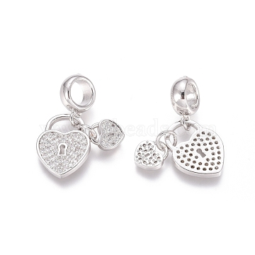 Brass Micro Pave Cubic Zirconia European Dangle Beads, Large Hole Pendants, Heart Lock, Clear, Platinum, 21.5mm, Hole: 5mm(X-ZIRC-E163-13P)
