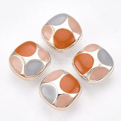 Boutons à queue en plastique CCB, avec l'émail, carrée, or rose, colorées, 16.5x16.5x10mm, Trou: 2.5x3.5mm(BUTT-S024-03C)