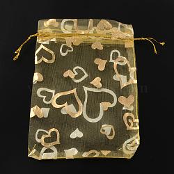 Sacs en organza imprimé cœur, sacs-cadeaux, rectangle, verge d'or, 9x7 cm(X-OP-R022-7x9-04)