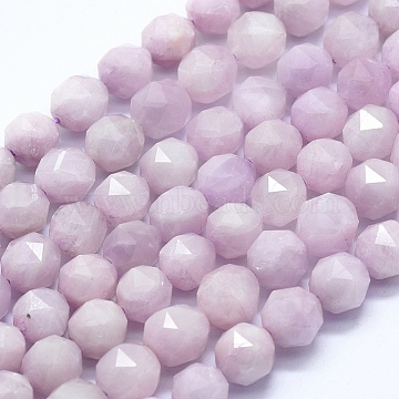 Natural Purple Kunzite Beads Strands, Faceted, Star Cut Round Beads, Round, 9mm, Hole: 1mm, about 42pcs/strand, 15.35 inches(39cm)(G-D0013-41)