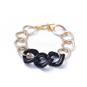 Chain Bracelets, with Aluminum Curb Chains, Acrylic Linking Rings and Alloy Toggle Clasps, Light Gold, Black, 7-5/8 inches(19.5cm)(BJEW-JB05176-01)