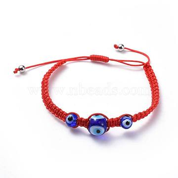 Adjustable Nylon Thread Braided Bead Bracelets, with Handmade Lampwork Evil Eye Beads and 304 Stainless Steel Smooth Round Spacer Beads, Red, 1-7/8 inches~3-3/8 inches(4.7~8.4cm), 4mm(BJEW-JB04459-02)