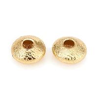Perles séparateurs en laiton, Plaqué longue durée, plat rond, or, 5x2.5mm, Trou: 1.4mm