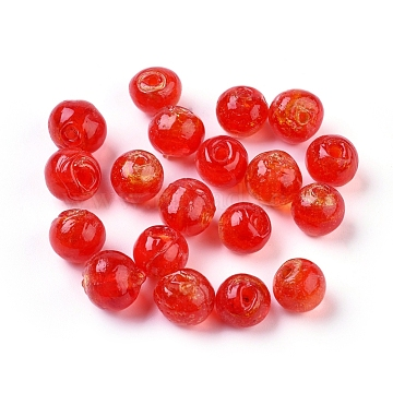 8mm Red Round Silver Foil Beads