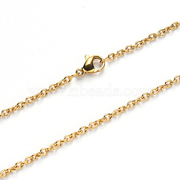 304 Stainless Steel Cable Chain Necklace Making, with Lobster Claw Clasp, Golden, 19.68 inches(50cm); Link: 2.7x2x0.6mm(NJEW-S420-007B-G)