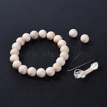 Natural Fossil Beads Stretch Bracelets, with Elastic Fibre Wire and Packing Box, 2-1/8 inches(5.3~5.4cm)(BJEW-JB04173-10)