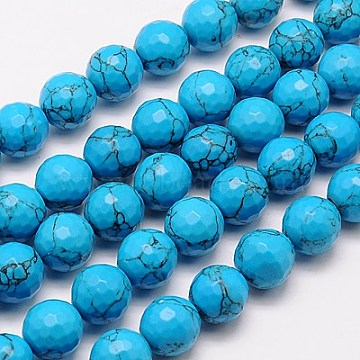 10mm DeepSkyBlue Round Synthetic Turquoise Beads