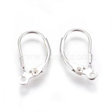Sterling Silver Leverback Hoop Earring Findings, Silver, 16x9x3mm, Hole: 1mm(X-STER-A002-181)