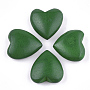 Painted Natural Wood Beads, for Pendant Making, Half Drilled, Heart, Green, 21.5~22.5x20~22x8.5~9mm, Half Hole: 0.5~1mm