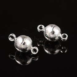 fermoirs magnétiques en laiton, arrondir, plaqué argent, 11.5x6 mm, trou: 1.2 mm(X-MC019-S)