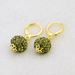 Pendantes rondes résine de balle boucles d'oreilles strass, avec boucles d'oreilles créoles en laiton doré, olivine, 30mm, pin: 1 mm(EJEW-J080-09G)