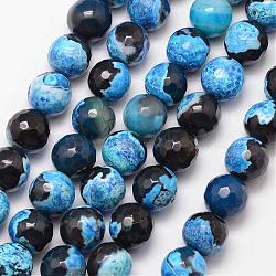 Natural Fire Agate Bead Strands, Round, Grade A, Faceted, Dyed & Heated, DeepSkyBlue, 10mm, Hole: 1mm; about 37pcs/strand, 15