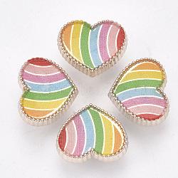 Boutons à queue en plastique CCB, avec l'émail, cœur, or rose, colorées, 15x18x8mm, Trou: 3.5mm(BUTT-S024-04)