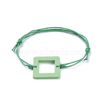 Adjustable Waxed Cotton Cord Bracelets, with Painted Boxwood Links, Square, Green, 6 inches~10-1/4 inch(15~26cm)(BJEW-JB04294-02)