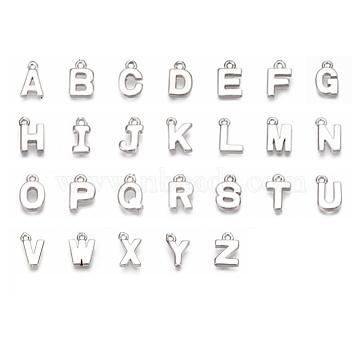 charmes en laiton, alphabet, Platine plaqué, lettre a ~ z, 8~8.5x4~6x1.5 mm, trou: 0.8 mm(KK-S350-167-P-M)