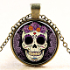 Candy Sugar Skull Pattern Flat Round Glass Pendant Necklaces(NJEW-N0051-044C-01)-1