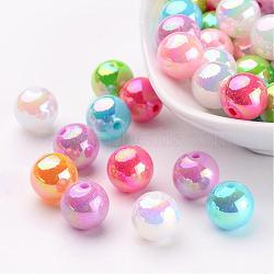 perles ab acrylique de couleur de billes rondes colorées pour enfant bijoux, couleur mélangée, taille: environ 10 mm de diamètre, trou: 2 mm(X-PL426)