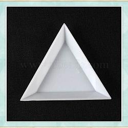 Triangle en plastique nail art strass plateaux de tri, blanc, 7.3x5x1.1 cm(MRMJ-G003-02)