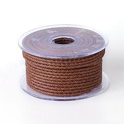Cordon de vache tressé, cordon de bijoux en cuir , bricolage bijoux matériau de fabrication, Sienna, 3 mm; 5 m / rouleau(WL-I004-3mm-D-21)