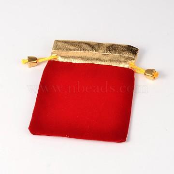 Velvet Jewelry Bag, Rectangle, Red, 122x96mm(TP-I001-01C)