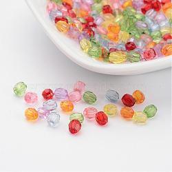Couleur mélangée transparentes acryliques perles facettées, environ 4 mm de diamètre, Trou: 1 mm