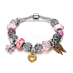 """Bracelets européens en laiton, avec des perles au chalumeau, Émaillé en alliage et strass, rose, 7-7/8"""" (200 mm)(BJEW-AA00074-004)"""
