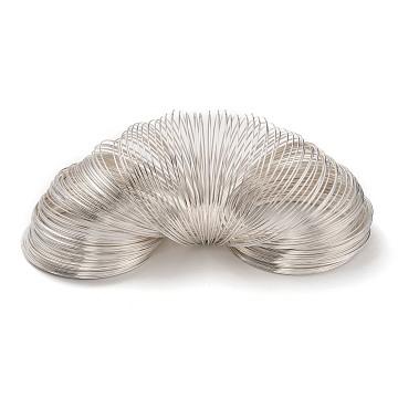 Steel Memory Wire,Bracelets Making,Silver,50mm,Wire: 0.6mm(22 Gauge),2400 circles/1000g(MW5.0CM-S)