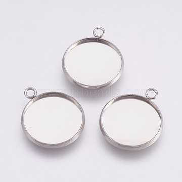 202 Stainless Steel Pendant Cabochon Settings, Plain Edge Bezel Cups, with 304 Stainless Steel Loops, Flat Round, Stainless Steel Color, Tray: 18mm, 23.5x20x2mm, Hole: 2.2mm(X-STAS-I088-A-04P)