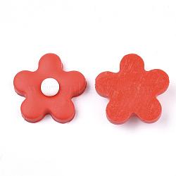 Cabochons en pâte polymère manuels, fleur, rouge, 24x24x8.5mm(CLAY-S091-17F)