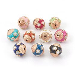 Handmade Indonesia Beads, with Metal Findings, Round, Mixed Color, 14~15x14.5~15mm, Hole: 1.6mm(IPDL-E012-14)