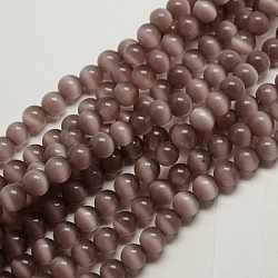 """Perles d'oeil de chat, rond, rosybrown, 12mm, trou: 1.5mm; environ 32 pcs/chapelet, 14.5""""(X-CER12mm21)"""