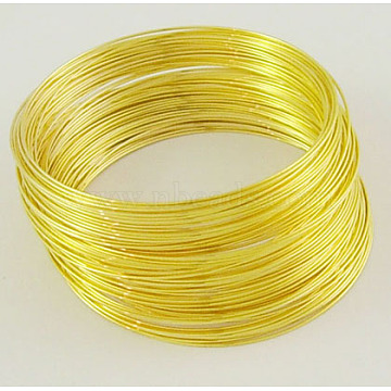 Steel Memory Wire,for Bracelet Making,Golden,55mm,Wire : 0.6mm(22 Gauge),about 100 circles/set(X-MW5.5CM-G)