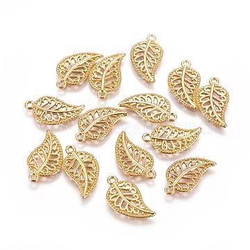 Tibetan Style Alloy Pendants, Leaf, Golden, 18x10.5x1.5mm, Hole: 1.2mm(X-PALLOY-WH0066-09G)