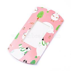 Paper Pillow Boxes, Gift Candy Packing Box, with Clear Window, Christmas Theme, Pink, 18.1x9.3x3cm(X-CON-G007-01D)