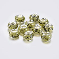 grande résine de rondelle de trou perles européennes, avec noyaux en laiton plaqué couleur argent, Darkkhaki, 14x9 mm, trou: 5 mm(RPDL-P003-B007)