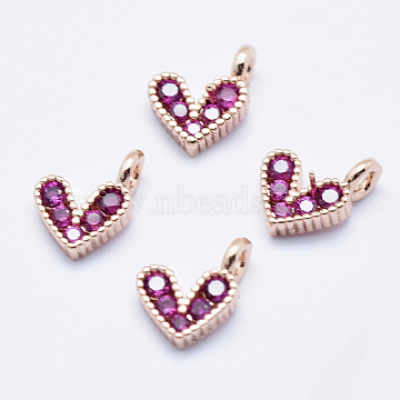 Brass Micro Pave Cubic Zirconia Charms, Long-Lasting Plated, Lead Free & Nickel Free & Cadmium Free, Heart, Hot Pink, Real Rose Gold Plated, 9.5x6.5x2mm, Hole: 1mm(X-RB-I078-66RG-NR)