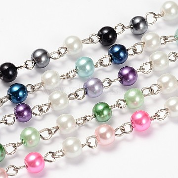 Glass Pearl Round Beads Handmade Chains for Necklaces Bracelets Making, with Iron Eye Pin, Unwelded, Mixed Color, 39.3 inches, Bead: 6mm(AJEW-JB00113)