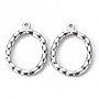 Stainless Steel Color Oval 304 Stainless Steel Pendants(STAS-T052-21P)