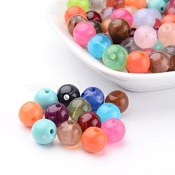 Acryliques perles mélangées rondes de pierres précieuses pour les bijoux bricolage et bracelets, 10 mm de diamètre, Trou: 2mm(X-PGB281Y)