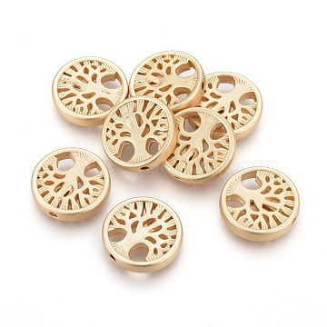 Alloy Beads, Flat Round with Tree of Life, Lead Free & Nickel Free & Cadmium Free, Real 18K Gold Plated, Matte Gold Color, 18x4mm, Hole: 1.5mm(X-TIBEB-Q067-26MG-NR)