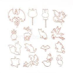 Pendentifs de lunette ouverte en alliage, pour diy uv résine, une résine époxy, Bijoux à fleurs pressées, formes animales mixtes, or rose, 16 pièces / kit(PALLOY-X0037-24RG)
