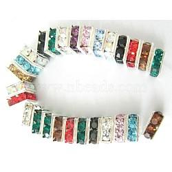 Perles séparateurs en laiton avec strass, Grade a, carrée, sans nickel, couleur mixte, de couleur métal argent, taille:  Largeur environ 6mm, Longueur 6mm, épaisseur de 3mm, Trou: 1mm(X-RSB072)