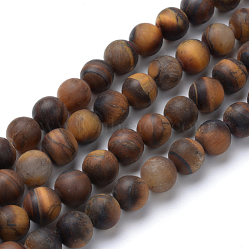 Natural Tiger Eye Round Bead Strands, Frosted Style, 4~4.5mm, Hole: 1mm; about 86~96pcs/strand, 14~15 inches(X-G-T055-4mm-04)