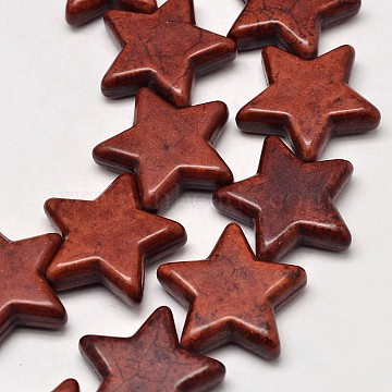 15mm CoconutBrown Star Synthetic Turquoise Beads