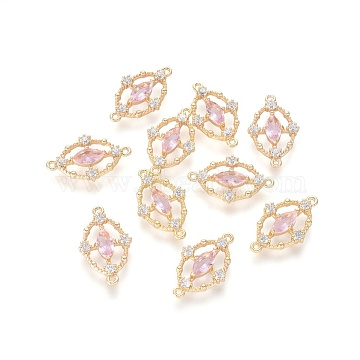19mm Pink Oval Brass+Cubic Zirconia Links