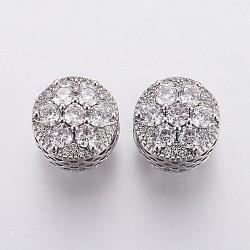 Perles européennes en laiton avec zircone cubique de micro pave, Perles avec un grand trou   , plat et circulaire avec fleur, clair, platine, 11.5x11.5mm, Trou: 4.5mm(OPDL-P001-05)